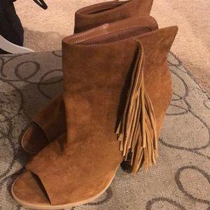 DV Dolce Vita brown suede peep toe boots Sz 11